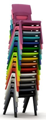 Postura Plus Classroom Chairs Shown Stacked