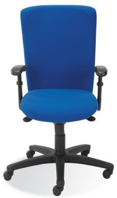 Bolero Visitor Swivel Chair In Blue Upholstery With Polyurethane Padded Armrests