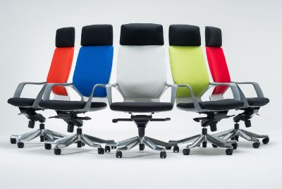 Caron High Back Designer Chairs With Headrest In A Choice Of Colourful Fabrics