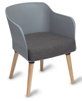 Polly Tub Chair Grey Shell Natural Legs