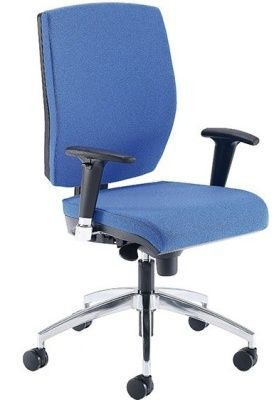 Quatro Blue Operators Chair With Chrome Swivel Base And Curved Back