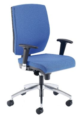 Quatro Office Chair In Blue With Black Arms, Chrome Base And Shaped Seat For Comfort