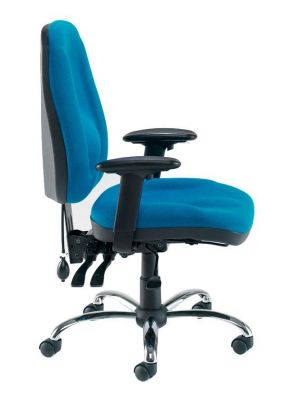 Blue Task Posture Chair With Adjustable Arms And Chrome Swivel Base