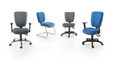 Icon High Back Office Chairs In Grey And Blue With Square Shaped Backs And Spider Base With Castors And Cantilever Chrome Frame Option