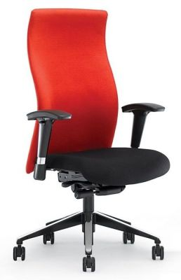 Flame Extra High Back Office Chair In Contrasting Black And Red Fabric With Armrests