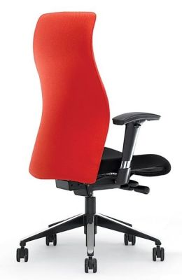 Flame Operator Chair With Designer Spider Base, Sculptured Back For Extra Lumbar Support In Red And Black Fabric With Black And Chrome Base