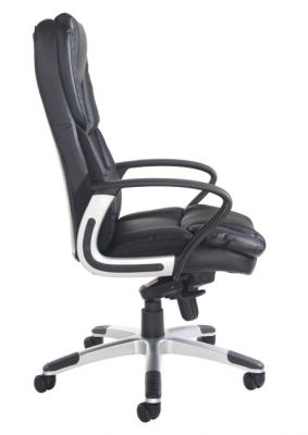 Side View Black Leather Executive Chair