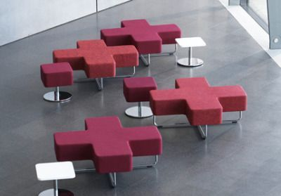 Jaks Restroom Modular Seating In Dark And Pale Red With Tables