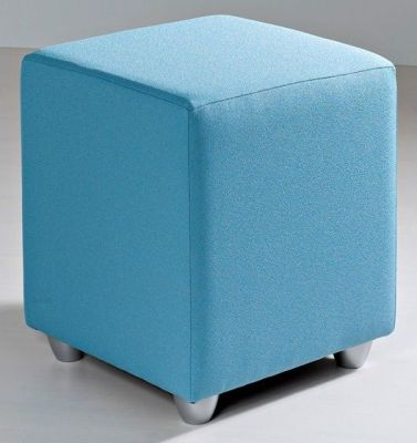 Mojo Multipurpose Tailored Cube Stool In Pale Blue Faux Leather With Chrome Feet