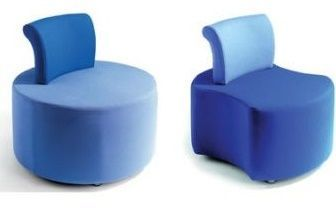 Flo Circular Light Blue Stool With Dark Blue Back Support And Segmented Dark Blue Reception Stool With Light Blue Back Rest