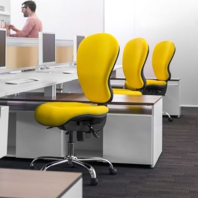 Contemporary Open Plan Office With Yellow Sphere Desk Chairs