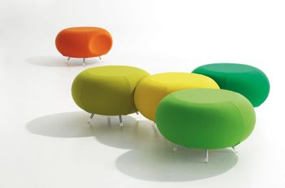 Pebble Green,yellow And Red Stools Grouped Together In Informal Meeting Possibility