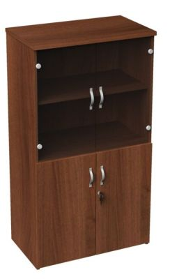 Duplex Medium Height Walnut Combination Cupboard With Glass Doors