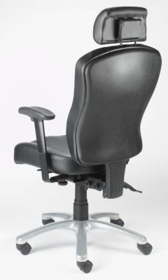 Zado Black Leather Operator Chair With Shaped Adjustable Backrest, Arms And Chrome Base On Castors