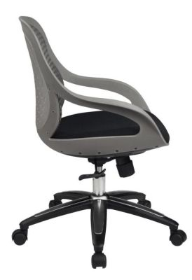 Croft Mesh Swivel Office Chair With Grey Moulded Arms, Mesh Back And Black Upholstered Seat