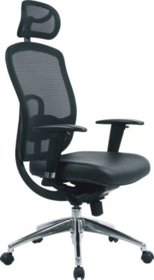 ECT Designer Black Mesh Office Chair With Faux Leather Seat