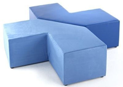 Jigsaw L Shape Modular Seating In Blue Fabric With Satin Chrome Feet