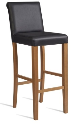 Turin High Stool Black Leather