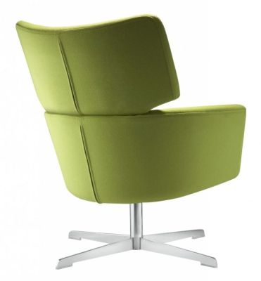 Kala Swivel Armchair In Green With Shaped Back