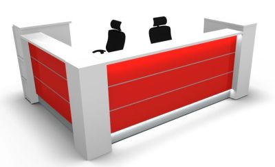 Valde L Shaped Reception Desk With Burgundy Illuminated Front Panels