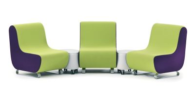 Parade Modular Waiting Room In Green And Purple Upholstery With Spacing Tables