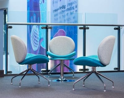 Set Of Three Giggler Receptions Chairs In Modern Grey And Blue Fabric