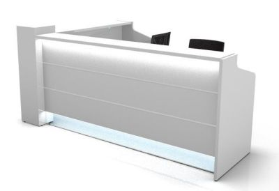 Valde L Shaped Reception Desk With High Gloss White Illuminated Fronts