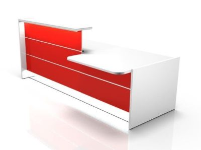 Valde Straight Reception Desk With Wheelchair Access Area Side View