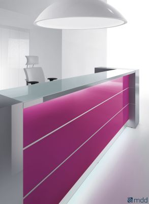 Valde Straight Reception Desk Fuschia Front Panel
