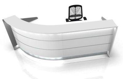 Valde Curved Reception Desk With White High Gloss Illuminated Front Panels