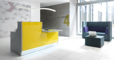 LX Yellow Glass Reception Desk