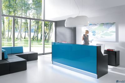 Lx Reception Desk With Dark Turquoise Glass Front Panel