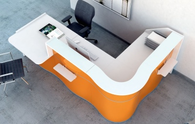 Indulge L Shaped Reception Desk With High Gloss HPL Fronts