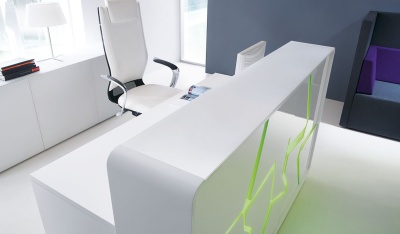 Artic Splash White High Gloss Reception Desk