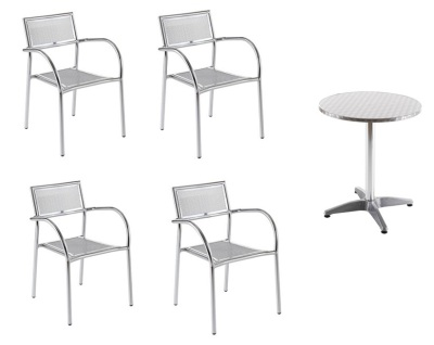 Aerop Set Of Four Arm Chairs And A Table