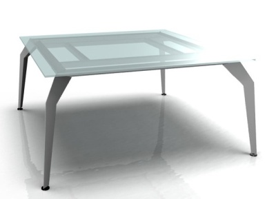 Square Desk Clear Glass Aluminium Frame