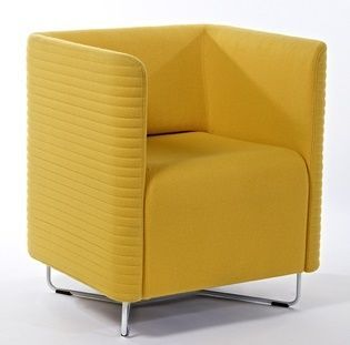 Asis Tub Chair In Mustard Yellow Textured Fabric With High Sides And Back And Chrome Frame Stand