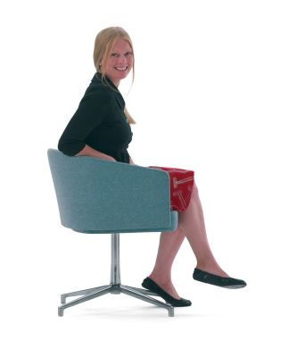 Zone B Meeting Chair In Teal Upholstery And Polished Aluminium Base
