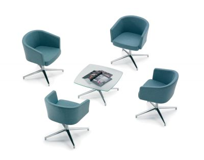Staff Rest Area With Zone B Designer Seating In Teal Fabric With A Frosted Glass Table