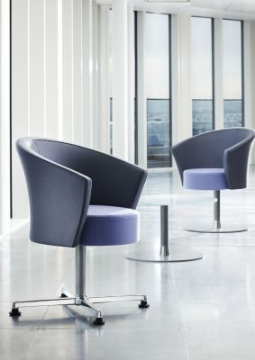 Modern Office Breakout Area Using Blue And Grey Bobbin Designer Chairs