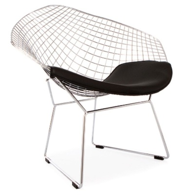 Harry Bertoia Diamond Chair Withj A Black Seat Cushion