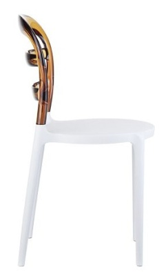 Miss Bibi Biatro Chair White Seat And Amber Back Side View