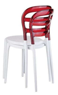 Miss Bibi Bistro Chair Red Back And White Seat Stack Of Two