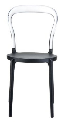Mr Bobi Bistro Chair Black Seat And Clear Back