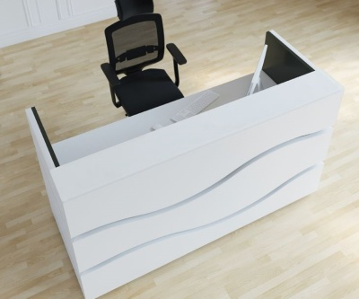 Riveria Reception Desk With Black Inlay Overhead View