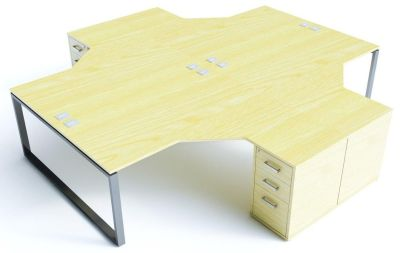 Avalon Plus Four Person Radial Desk And Pedestal Combination In Maple