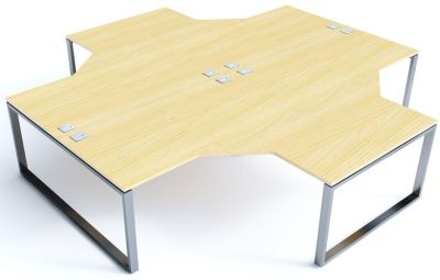 Avalon Plus Four Person Radial Bench Desk