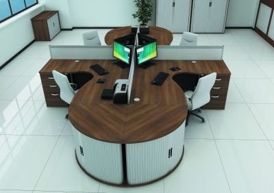Avalon Plus Two Large Corner Desks And Desk And Tambour Storage
