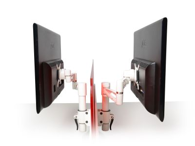 Matal Pair Of Screen Mounted Monitor Arms Side View