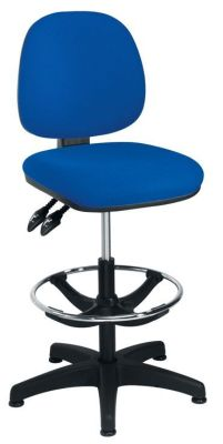 Concept Blue Swivel Draughtsmans Chair With Chrome Foot Rest